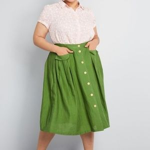 MODCLOTH Effortless Feature Midi Skirt in Olive